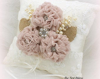 Ring Bearer Pillow, Bridal, Wedding, Ivory, Blush, Cream, Burlap, Lace, Crystals, Brooch, Pearls, Vintage Wedding, Elegant
