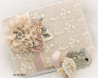 Guest Book, Champagne, Tan, Ivory, Blush, Rose,Elegant Wedding,Vintage Style,Lace Guest book, Signing Pen, Signature Book, Crystals, Pearls,