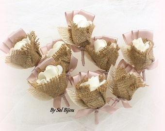 Boutonnieres, Simple Style, Rose, Blush, Ivory, Button Hole, Bouts, Groom, Groomsmen, Corsage, Mother of the Bride, Shabby Chic, Burlap