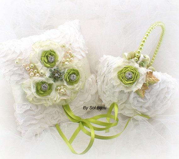 Flower Girl Baskets Green : Ring bearer pillow flower girl basket lime green