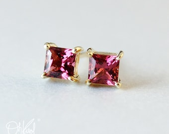Princess Cut AAA Grade Pink Tourmaline Stud Earrings - Octobert Birthstone - 10kt Gold