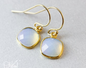White Opalite Earrings - Minimalist Gemstone Earrings - Gifts from 20