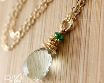 AAA Grade Green Amethyst Green Tourmaline Necklace - 14kt Gold Fill