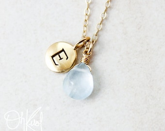 Blue Aquamarine Necklace - March Birthstone - Initial Necklace, Personalized Jewelry