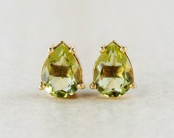 Gold-Green Quartz Studs - Gemstone Stud Earrings - Gifts for Her
