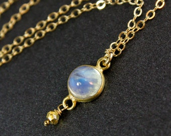 Rainbow Moonstone Necklace - Round Moonstone Pendant - 14k Gold Filled Chain