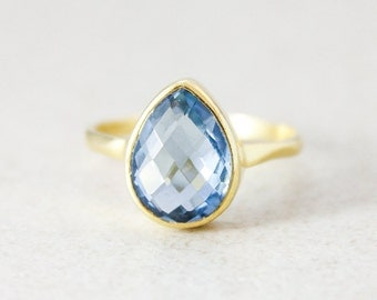 SALE London Blue Quartz Teardrop Ring - December Birthstone Ring - Gold or Silver
