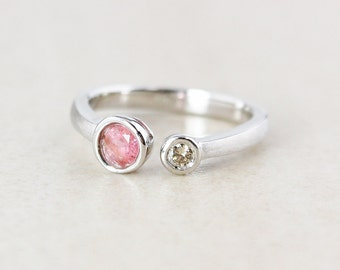 Silver Pink Tourmaline Dual Ring - Choose Your Tourmaline - Diamond