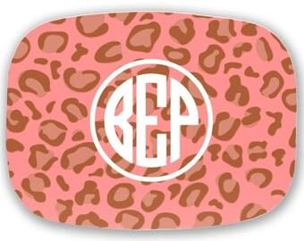Personalized Melamine Platter--Leopard Pink