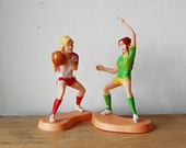 Vintage Woman Sports Cake Topper Figurine Retro Girl Basketball Players