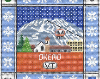 Okemo Mountain Needlepoint Pillow