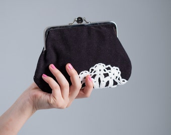 double frame purse with vintage lace, black & white