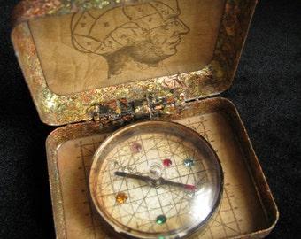 Altered Art Compass - Rare Alchemist Compass - Eclectic Compass - Metaphysical Compass, Curiosity Cabinet Compass, Wunderkammer Supplies