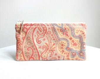 Blush Paisley Clutch / Zipper Bag - READY TO SHIP