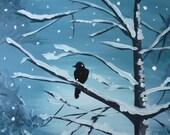 Black Crow in the Snowy Winter Woods- Original Painting by JamiesArt 16x20