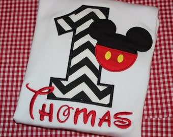 Mickey birthday shirt for boy- any number