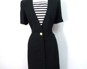 Vintage 1980s Military Dress Sailor Black and White Stripped front by Virgo II Size 8