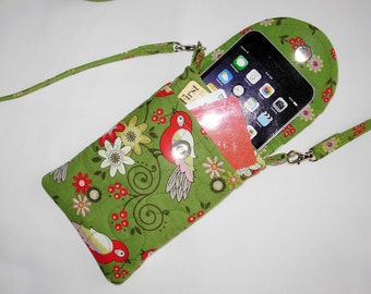 Iphone 6 Case Smart Phone Gadget Case Detachable Neck Strap Quilted Birds Green Red White