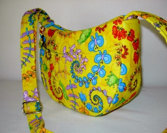 Diana Mini Hobo Shoulder Bag Purse Vera Bradley Type Quilted Frogs Novelty Print Yellow