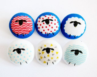 Sewing Buttons / Fabric Buttons - Baa Baa Black Sheep on Blue and White - 6 Large Fabric Buttons Set