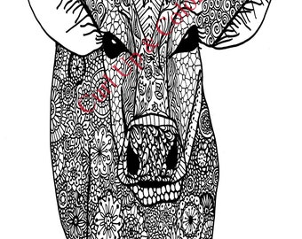 Adult Coloring Page - Cow - Instant Download - Zentangle - Doodle Illustration - DailyDoodler - Pretty Cow Unique Art Drawing
