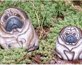 Rock Painting Tutorial - How to paint on rock a pug dog (english)