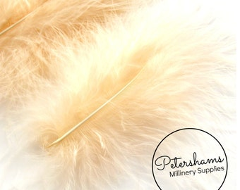 20 Fluffy Marabou Feathers for Millinery Hat Trimming & Crafts - Peach