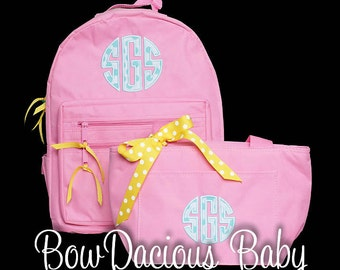 Custom Backpack and Lunch Box, Personalized Backpack and Lunch Cooler, Monogrammed Backpack and Lunch Box, Personalized Lunch Tote