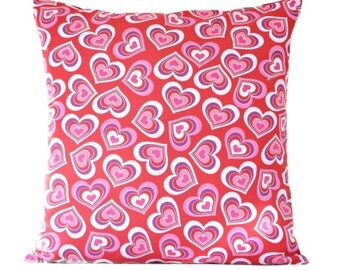Hearts Valentine Pillow Cover Cushion Red Pink Purple Decorative 16x16
