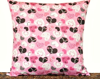 Pink Valentine Pillow Cover Cushion Hearts Brown White Retro Decorative 18x18