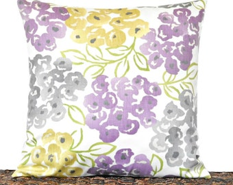 Lilac Floral Pillow Cover Cushion Mustard Gray Green Modern Designer Decorative 16x16