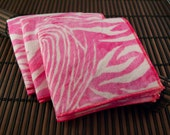 Medium Flankie - Pink Zebra Flannel Handkerchiefs - Set of 3