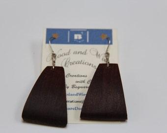 Handmade triangular curved Black Walnut  earrings