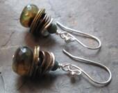 Harmony ~ Agate & Mixed Metal earrings ~ Earthy style jewelry