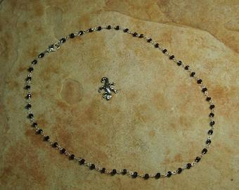 Natural Black Onyx Gemstones,.925 Silver Necklace