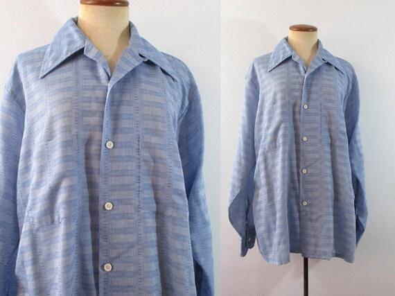 ann es 70 disco chemise chemisier col pointu bleu manches. Black Bedroom Furniture Sets. Home Design Ideas