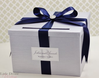 Wedding Card Box Silver Navy Blue  Money Holder Customizable