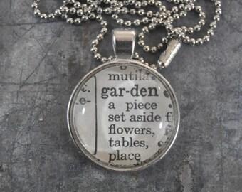Dictionary Word Necklace - garden