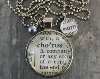 Vintage Dictionary Word Necklace - Chorus Mom