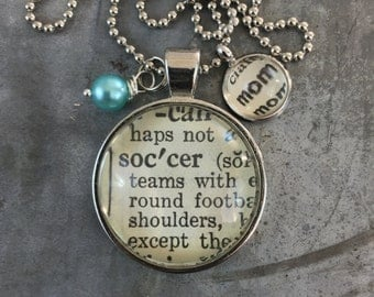 Vintage Dictionary Word Necklace - SOCCER Mom
