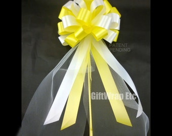 6 White Yellow Pull Bows With Tulle Summer Wedding Party Pew Church Decorations