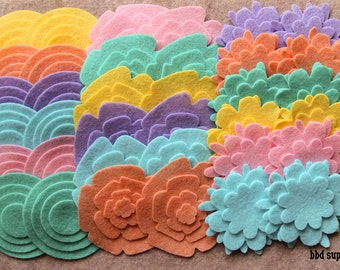 Hippie Chick - Super Pack - 132 Die Cut Wool Felt Flowers and Circles