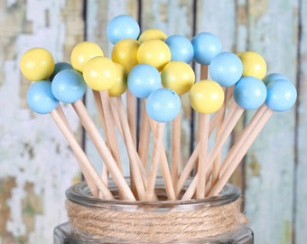 Light Blue & Yellow Lollipop Sticks, Cake Pops Sticks, Dessert Skewers, Baby Shower Cake Pop Sticks, Painted Rock Candy Sticks (12)