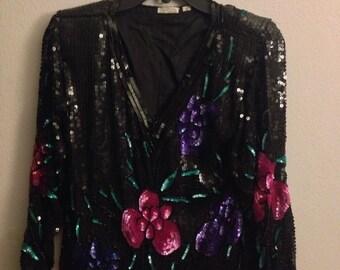 Vintage 80s Silk Sequin Floral V-Neck TROPHY Blouse ~ Made In India