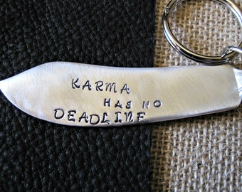 Karma keychain antique silverplate butter knife funny keychain