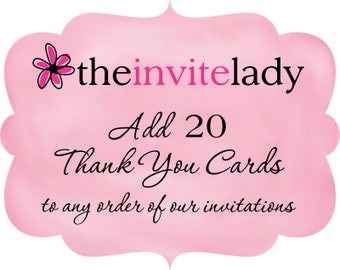 Thank You Card Add On - Set of 20 Matching Thank You Notes with Envelopes