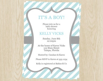 Simple Stripes Baby Shower Invitations, Boy, Blue, Gray, Set of 10 Printed Cards with Envelopes, FREE Shipping, SMSBL, Simple Stripes Boys