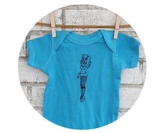 Derby Girl Pin-Up Baby Onepiece in Bright Turquoise Blue, Hand Screen-printed, Cotton Clothing Infant Creeper Roller Derby Baby Shower Gift