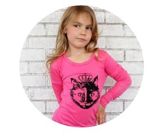 Youth Cat Tshirt, Long Sleeved Hot Pink Girls Shirt, Tween, Toddler, Princess Kitty, Cat Lover, Hand screenprinted, Kids Clothing Soft Shirt
