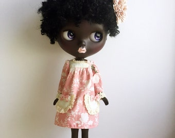 Blythe Dress,Long Sleeve ,Vintage Inspired, Pale Pink Fabric